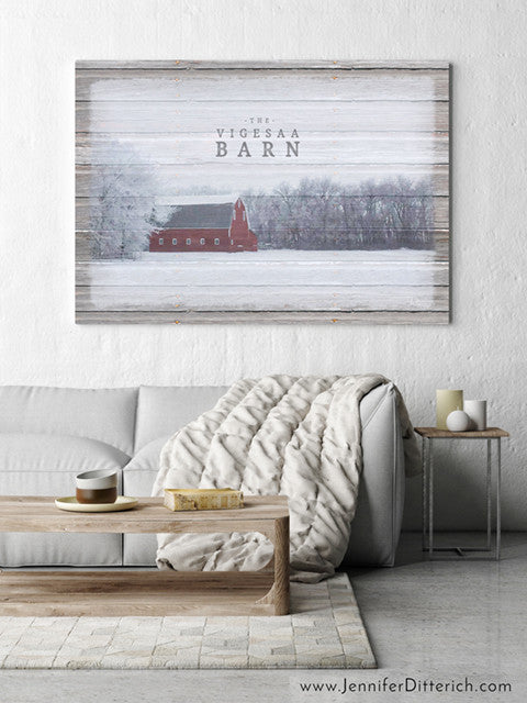 Winter Barn Custom Farm Canvas Print by Jennifer Ditterich Designs