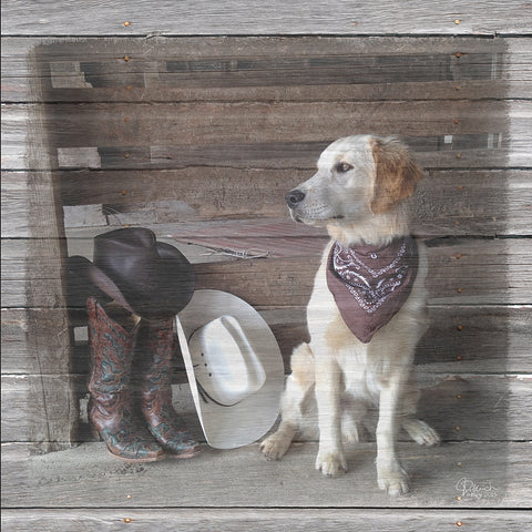 Cowboy Dog Canvas with Wood Grain by Jennifer Ditterich