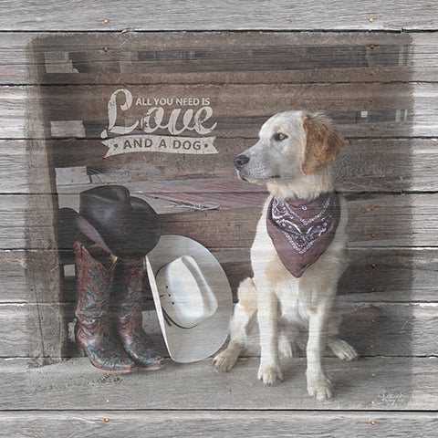 Cowboy Dog Custom Canvas with saying