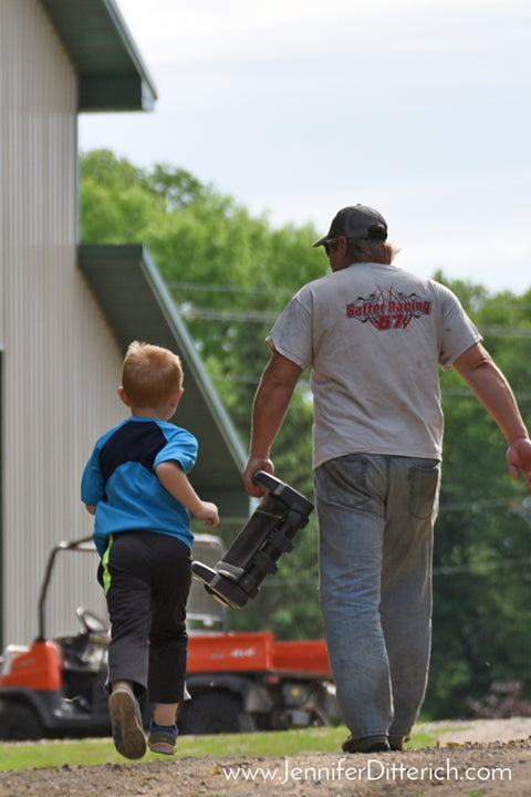 Father and Son on Farm by Jennifer Ditterich