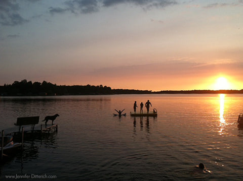 Lake Photo Grandchildren and Dog in Lake During Sunset Jennifer Ditterich Designs