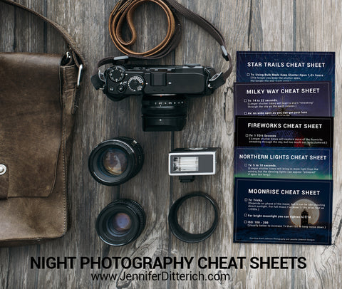 Night Photography Cheat Sheets by Jennifer Ditterich Designs