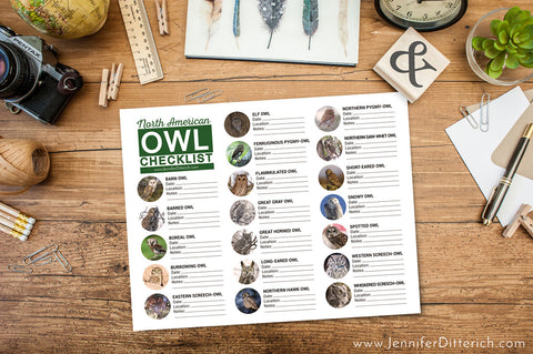 North American Owl Checklist by Jennifer Ditterich Designs and Jody Doll Photography
