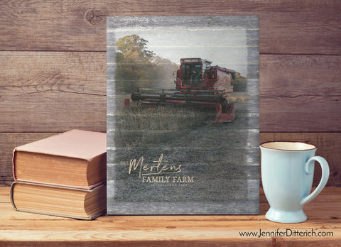 Personalized Farming Canvas Print with Combine by Jennifer Ditterich Designs