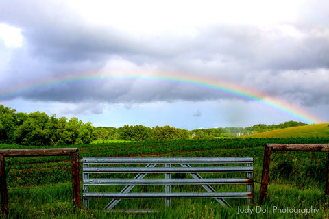 Rainbow Over a Farm by Jody Doll Photography
