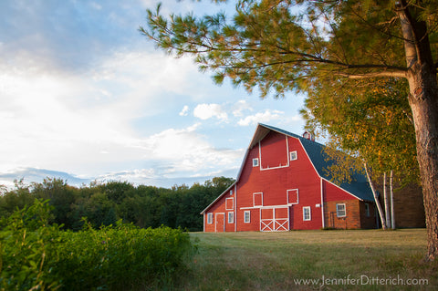 Red Barn on Farm Photograph by Jennifer Ditterich
