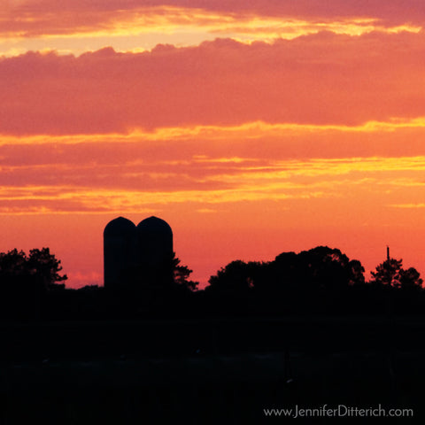 Silo Sunset Farm Photograph by Jennifer Ditterich Designs