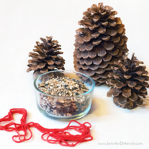 Supplies for DIY Pinecone Birdfeeder Ornaments by Jennifer Ditterich Designs