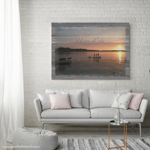 Union Lake Personalized Custom Canvas by Jennifer Ditterich Designs