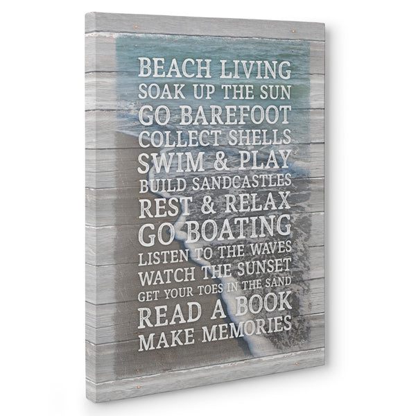 Beach Rules Sign - Canvas Print