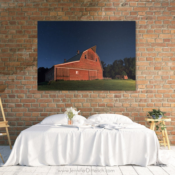 Big Dipper over Red Barn Canvas Print