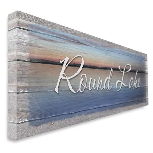 Personalized Lake Name Canvas Sign - Shoreline Glow Print