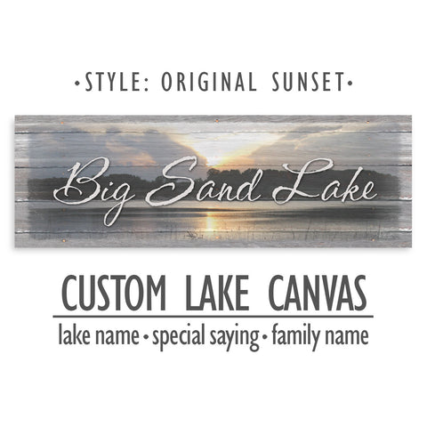 Personalized Lake Name Canvas Sign - Original Sunset Print