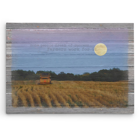 Harvest Landscape - Moonlight Baling - Canvas Print