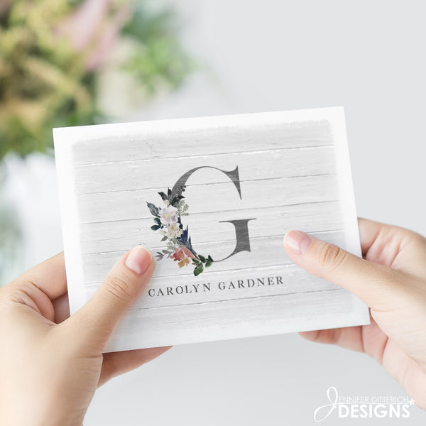 Monogram Note Card Set with Custom Name