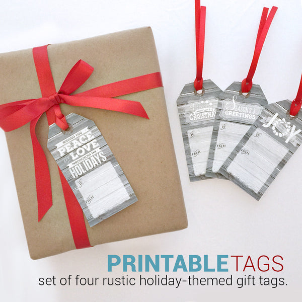 Printable Christmas Gift Tags - Set of 4 Designs