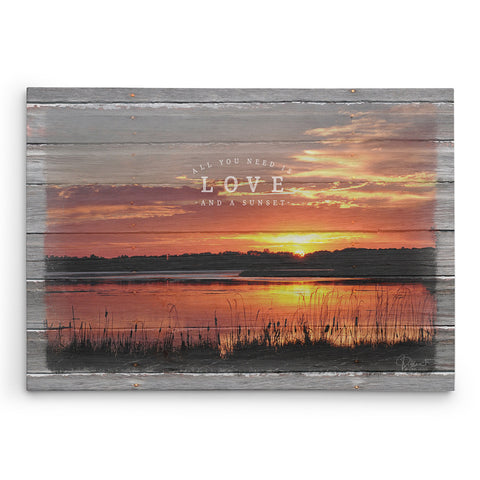 All You Need is Love and a Sunset Canvas Print