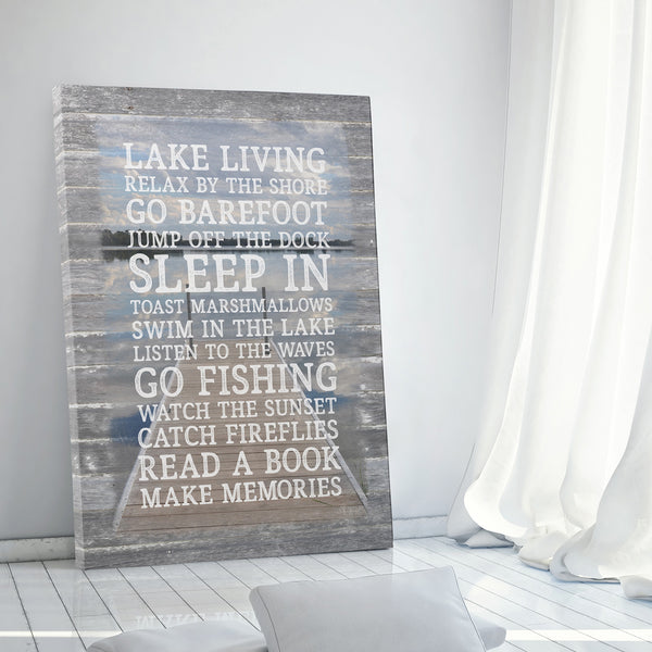 Lake Rules Canvas Sign