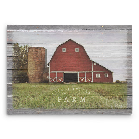 Farm Scene With Barn - Life is Better on the Farm - Canvas Print