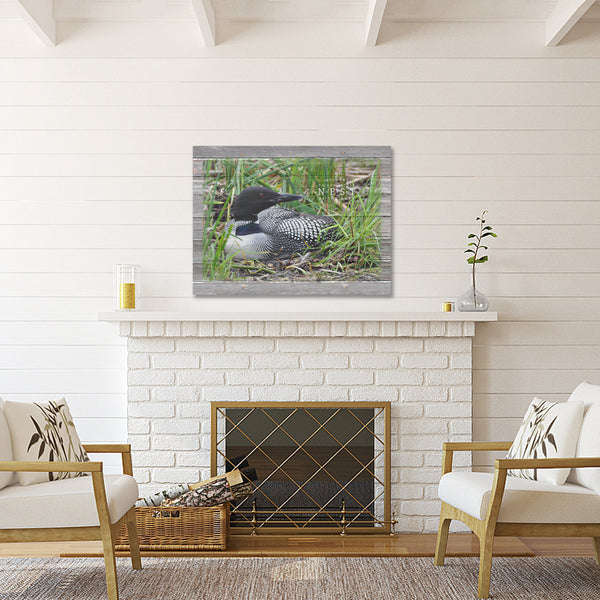 Welcome To Our Little Nest By The Lake - Canvas Loon Print