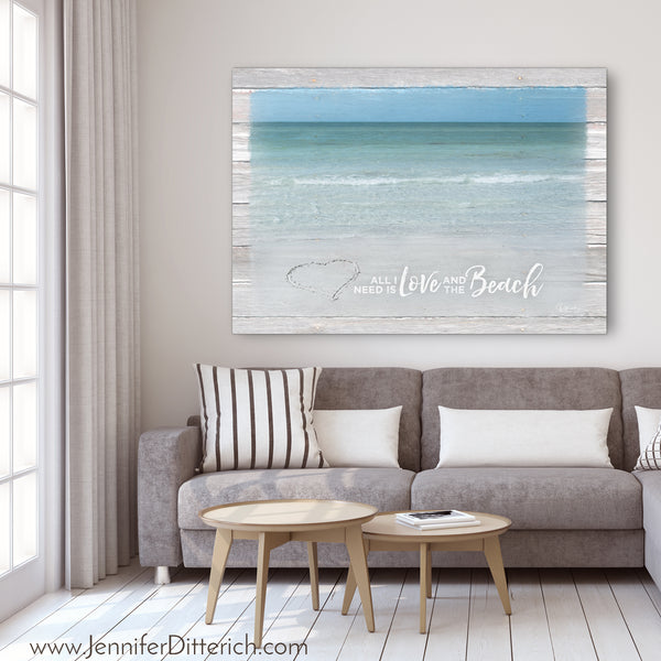 All I Need is Love and the Beach Canvas Print