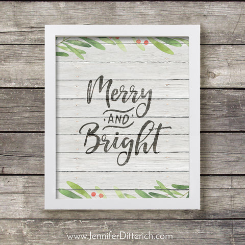Merry and Bright Christmas Printable
