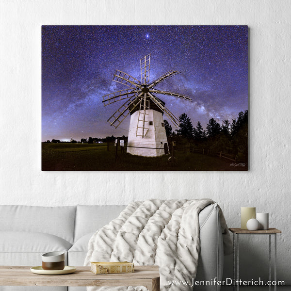 Davidson Windmill with Milky Way Canvas Print