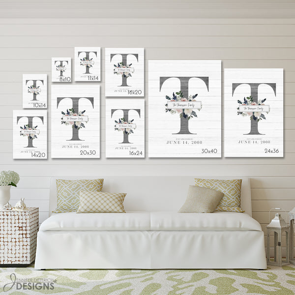 Baby Monogram Nursery Art - with Name and Birth Date