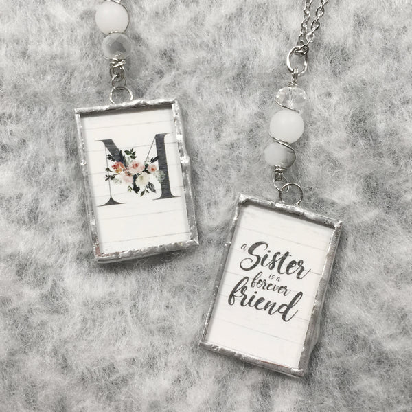 A Sister is a Forever Friend Monogram Necklace