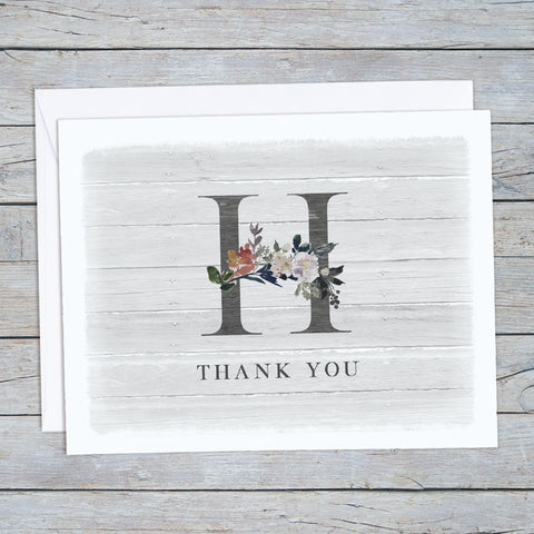 Monogram Thank You Note Card Set