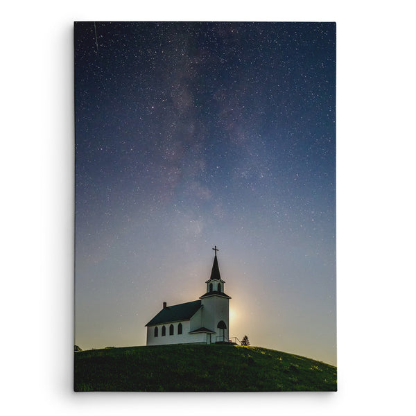 Milky Way over James River Church Canvas Print