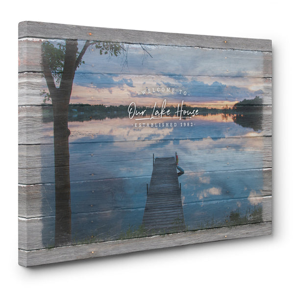 Welcome to Our Lake House Personalized Canvas Print