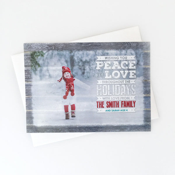 Peace & Love Custom Photo Christmas Card Design