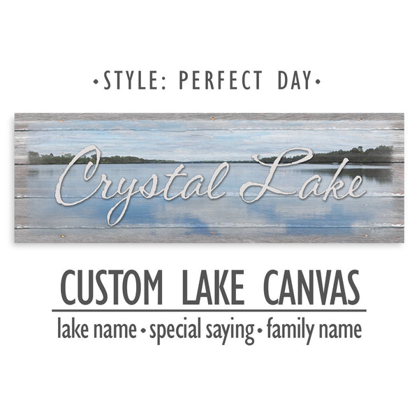 Personalized Lake Name Canvas Sign - Perfect Day Print
