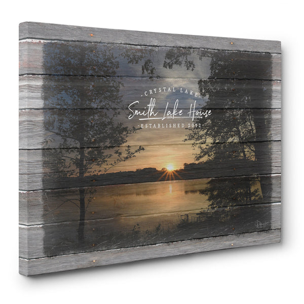 Custom Lake House Canvas Print with Family Name