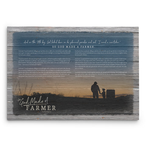 So God Made A Farmer Canvas Print - With Paul Harvey's Speech