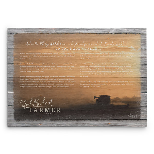 So God Made A Farmer Canvas Print - Sunset Harvest With Speech