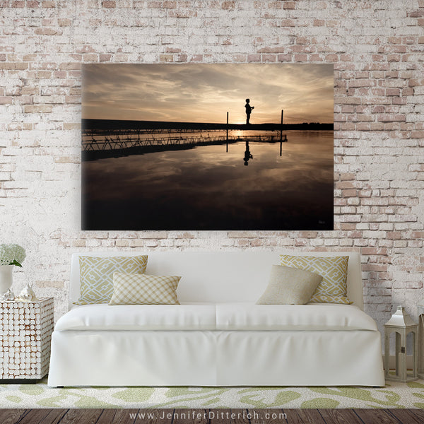 Fishing off the Dock Canvas Print