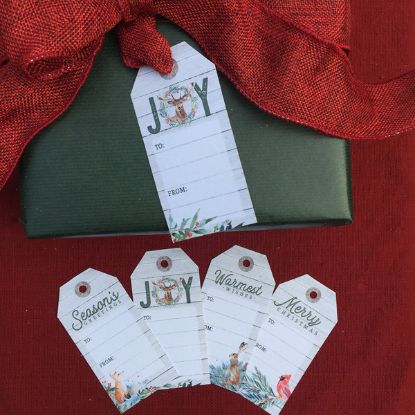 Woodland Christmas Printable Gift Tags - Set of 4