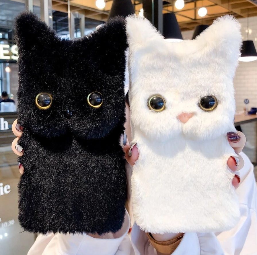 Fluffy Cat Face Case for iPhone 13