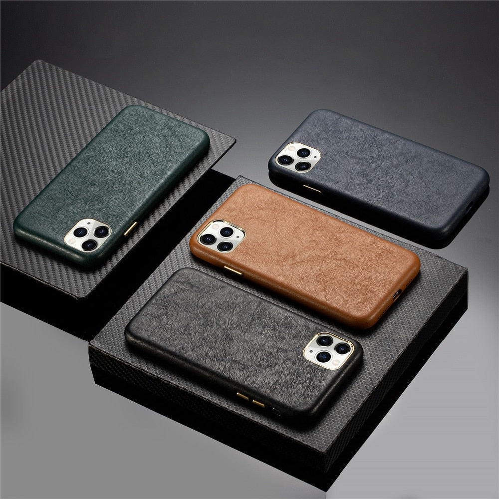 Premium Leather and Metallic Buttons Case for iPhone 13 mini