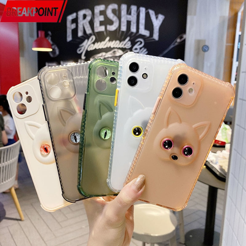 Glow-in-the-Dark Cat Eyes Case for iPhone 13