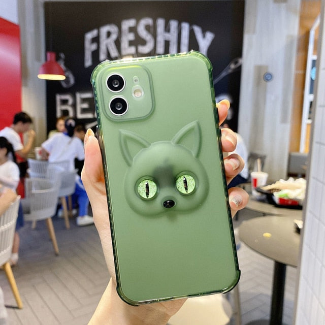 Glow-in-the-Dark Cat Eyes Case for iPhone 13 mini