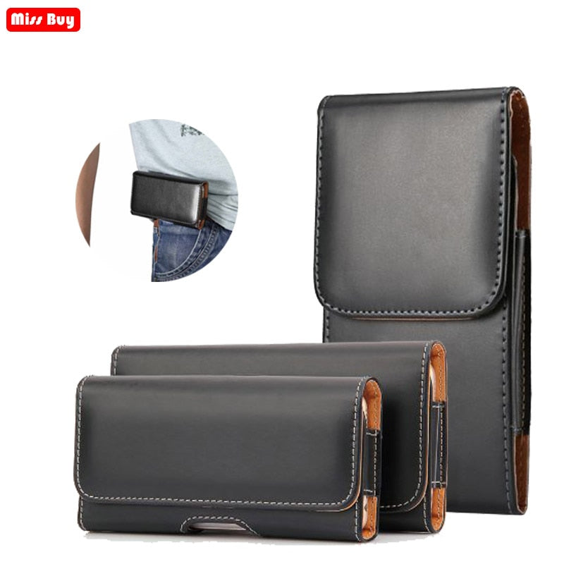 Leather Phone Pouch Case for iPhone 13 mini