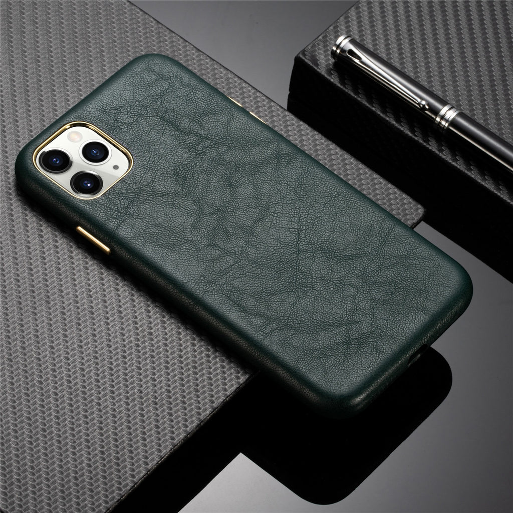 Premium Leather and Metallic Buttons Case for iPhone 13