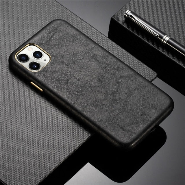 Premium Leather and Metallic Buttons Case for iPhone 13 Pro