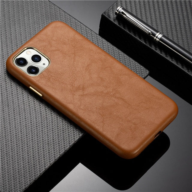 Premium Leather and Metallic Buttons Case for iPhone 13 Pro Max