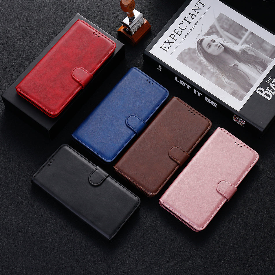 Simple Leather Flip Wallet Case for iPhone 13 mini
