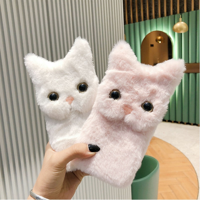 Fluffy Cat Face Case for iPhone 13 mini