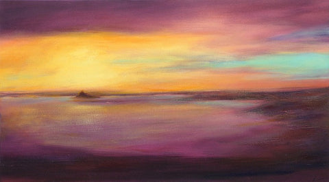 'Waiting for the Sun, Mount's Bay' (print on canvas) by Jen Larkin